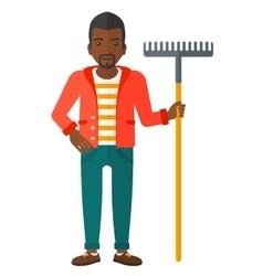 Man standing with rake vector