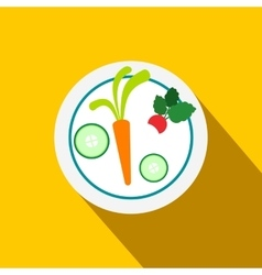 White plate with vegetables flat icon vector