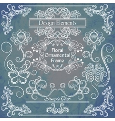 Floral design elements on shabby background vector