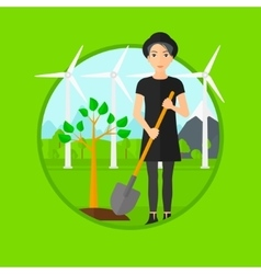 Woman plants tree vector