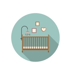 Baby crib icon vector
