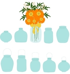 Jars set bouquet of herberas in jar vector