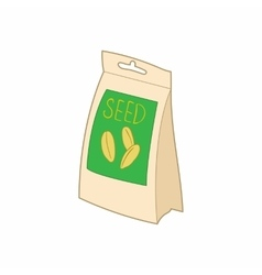 Paper bag with seeds icon cartoon style vector