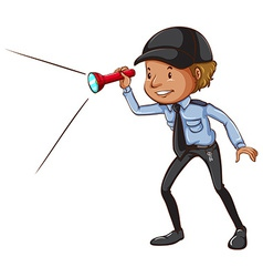 A sketch of a security guard with a flashlight vector