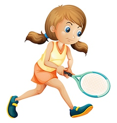 A young lady playing tennis vector image vector image