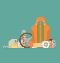 Automotive spare parts flat design vector