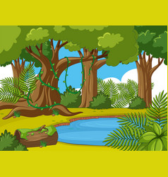 background scene with trees and pond vector image