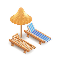 Beach umbrella and deck chair isolated on white vector