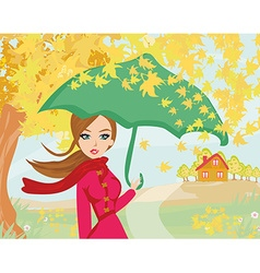 beautiful woman with umbrella vector image