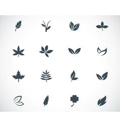 black leaf icons set vector image vector image