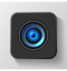 Blue Camera Lens Icon on Black vector image vector image
