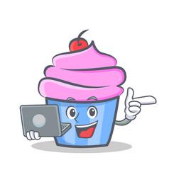 cupcake character cartoon style bring laptop vector image vector image