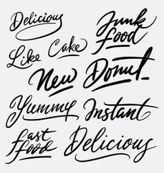 delicious and yummy hand written typography vector image vector image