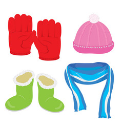 gloves hat boots scarf cartoon vector image vector image