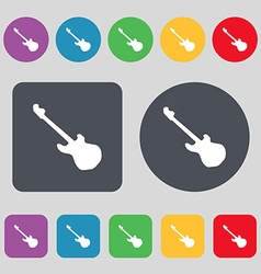 Guitar icon sign a set of 12 colored buttons flat vector