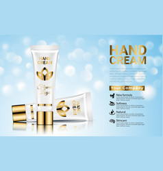 Hand cream moisturizing cosmetic white gold ads vector