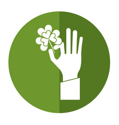 hand holding clover st patricks day shadow vector image