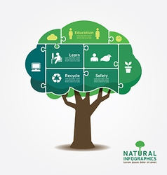 Infographic Green Tree jigsaw banner vector image vector image