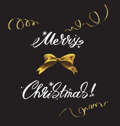 merry christmas lettering and christmas elements vector image vector image
