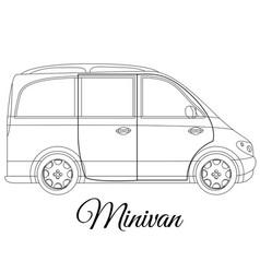Minivan car body type outline vector