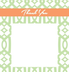 Mint and peach thank you card vector