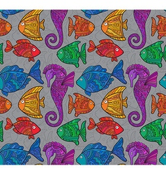 Ornate Sea Seamless Pattern with fishes seahorses vector image vector image
