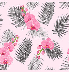 Pink orchid flowers jungle palm leaves pattern vector