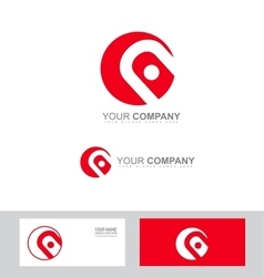 Red circle abstract sign logo vector