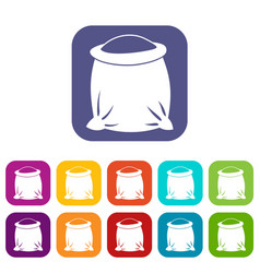 Sack full of flour icons set vector