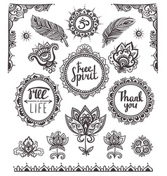 Set of Ornamental Boho Style Frames and elements vector image vector image