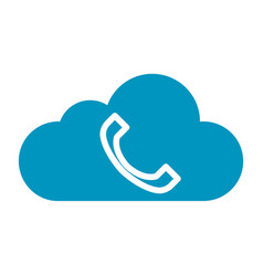 Thin line cloud phone icon vector