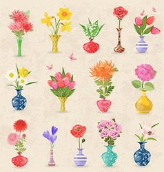 vintage collection lovely vases with bouquet of vector image vector image