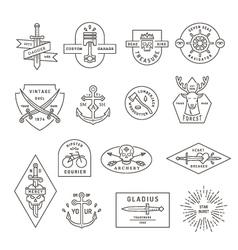Vintage outline emblem and label design vector image vector image