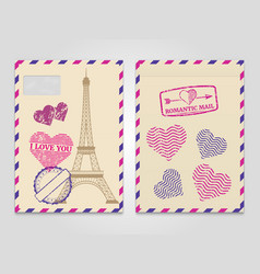 vintage romantic envelopes with eiffel tower and vector image
