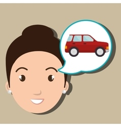 Woman car vehicle transport vector