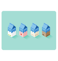 Isometric of different flavor milk boxes vector