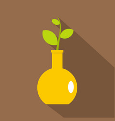 green plant in a yellow vase icon flat style vector image