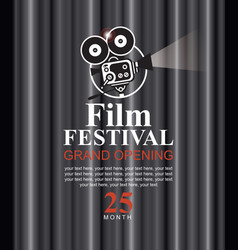 Film festival poster with old fashioned camera vector