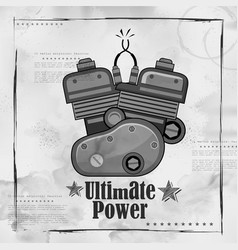 Automobile bike engine spark plug on vintage paper vector