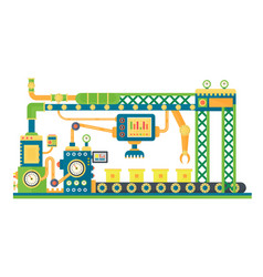 Automatic stock line robots technology industrial vector