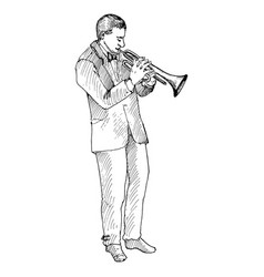 Man playing trumpet vector