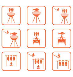 Set of grilled fish icons vector