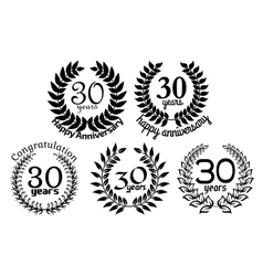 Anniversary laurel wreaths 30 years vector