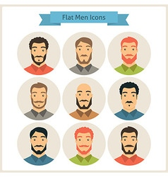 Men characters flat circle icons set vector