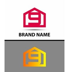 Number 9 logo logotype design with house vector