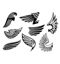 Heraldic angel black and white wings vector