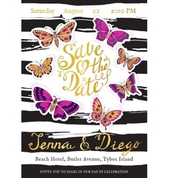 Wedding invitation cards with butterflies and vector