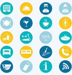 Hotel colored icons Silhouette Flat design vector image