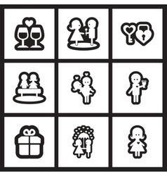Set of flat icons in black and white wedding vector