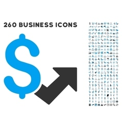 Dollar growth icon with flat set vector